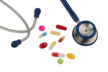 Bunte Tabletten ein Stethoskop