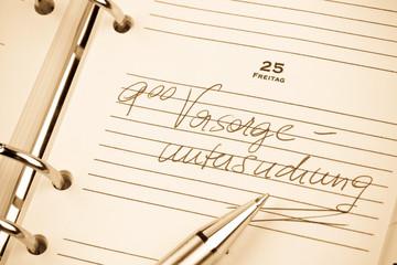 Eintrag im Kalender: Vorsorgeuntersuchung