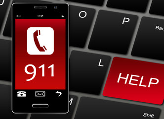 Mobile phone with 911 emergency number over white