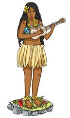 hula girl on dashboard vintage painting