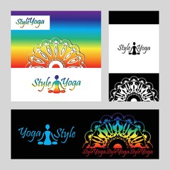 yoga logo label card set pattern in the circle on a black backgr