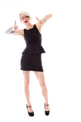 model isolated on plain background fingers pointing to camera
