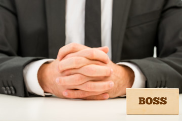 Boss Text on Wooden Piece in Front Businessman