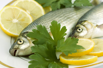 Raw fish with lemon and parsley