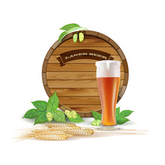 Wooden barrel, glass of beer, hops and barley