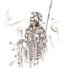roman warrior hand draw