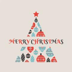 Christmas tree made from christmas balls