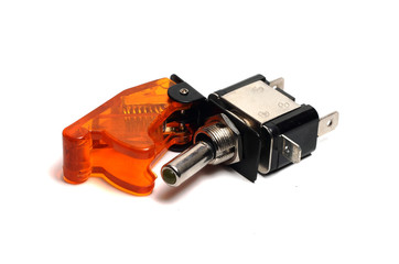 reliable toggle switch with an orange cover on a white backgroun