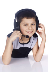 Young boy and headset isolated on white