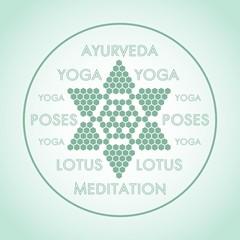 the logo is a stylized Lotus flower design Ayurveda yoga