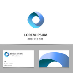 Abstract vector infinity logo design template with business card