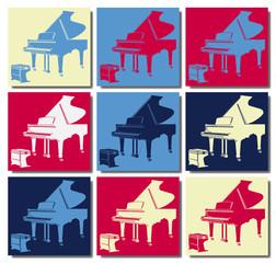 Piano à queue.