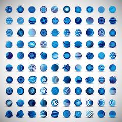 3D Globe Icons Set - Isolated On Gray Background