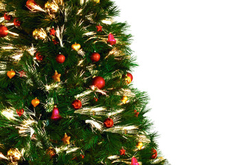 Christmas tree decoraition on white background