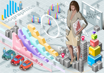Isometric Infographic Woman Secretary Set Elements