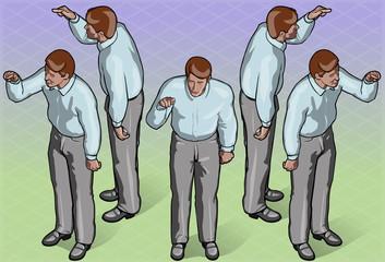 Isometric Standing Man Indicating Pose