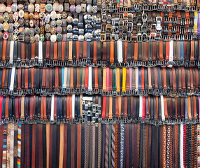 Background of olored leather belts