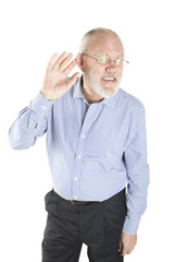 Elderly man has problem with ears on white background