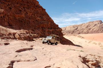 Extreme safari trip in Wadi Rum mountains, Jordan