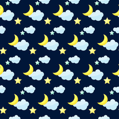 vector pattern background with cartoon moon, clouds and stars