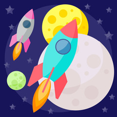 vector space background with planets and bright spaceships