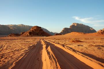 Evening landscape in Wadi Rum desert.
