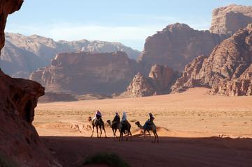 Camel safari in Wadi Rum desert, Jordan.