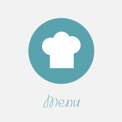 Big chef hat in the circle Menu icon Flat design style.