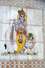 Divinités hindouistes peintes sur carrelage