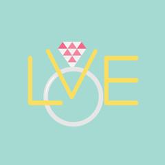 Wedding silver ring polygonal pink diamond. Word love Flat