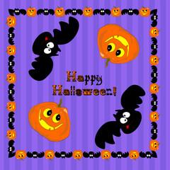 Funny Halloween pumpkin and bat. Illustration, vector