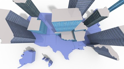 USA map con edifici