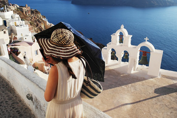 Turista a Santorini