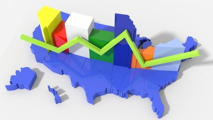 USA map con grafico a pila