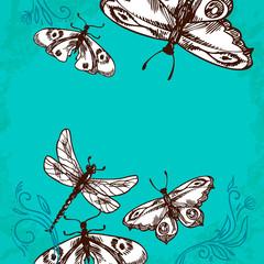Butterflies and dragonflies background