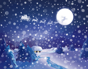 Vector Santa Claus Sleigh on sky background, winter night scene