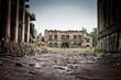 Leinwanddruck Bild - War devastation fear , scenery, wet, dirty, home town