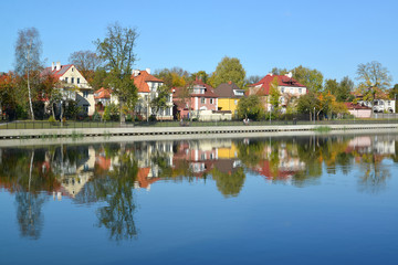 Kaliningrad. Panorama of the autumn embankment of the Grain lake