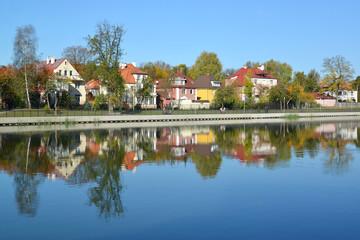 Kaliningrad. Panorama of the autumn embankment of the Grain lake