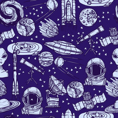 Space sketch seamless pattern