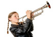 a pretty little girl with a black jacket plays the trumpet - 72261508