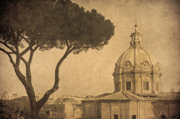 Vintage image of Rome, Italy.