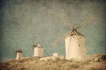 Vintage image of windmills in Consuegra, Spain.