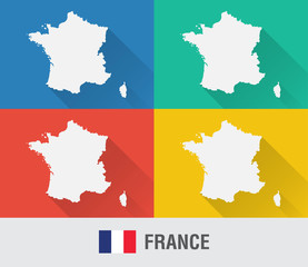 France world map in flat style with 4 colors.