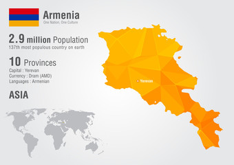 Armenia world map with a pixel diamond texture.