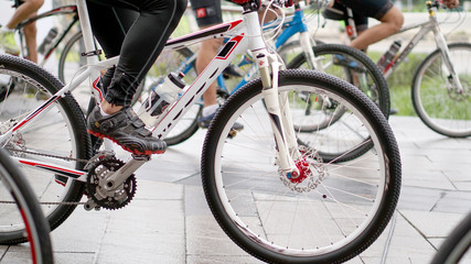 Abstract biking tournament at start line, shot of a group of rac