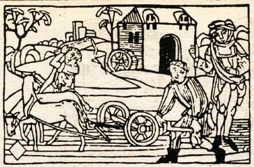 """Medieval draving """"Plowing"""""""