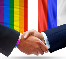 Representatives of Russia and the Gay community shake hands