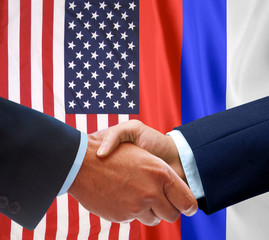 Representatives of the USA and Russia shake hands