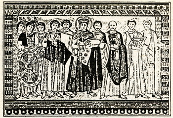 The mosaic of Emperor Justinian and his retinue